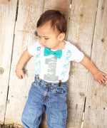 Teal and Light Grey Plaid Noah's Boytique Bodysuit Suspenders - Snap on Suspenders - Suspender Outfit - Baby Suspenders