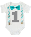 Boys First Birthday Outfit - Number One Outfit - Teal Plaid Suspender Bow Tie - Teal Grey Gray Plaid - 1st Birthday - Cake Smash - 1st