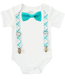 Boys First Birthday Outfit - Number One Outfit - Teal Plaid Suspender Bow Tie - Teal Grey Gray Plaid - 1st Birthday - Cake Smash - 1st - Noah's Boytique  - Baby Boy First Birthday Outfit