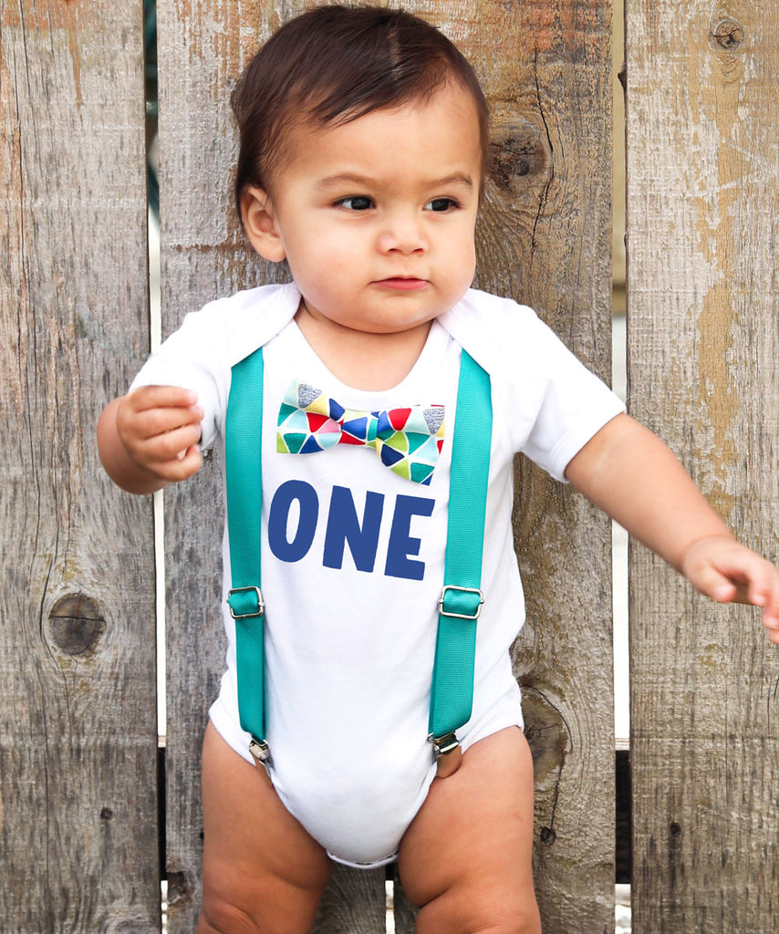 First Birthday Outfits Boy with One - Teal Suspenders and Colorful Geometric Print Bow Tie - First Birthday Shirt Boy - Cake Smash Outfit -first birthday onesie personalized blue teal red