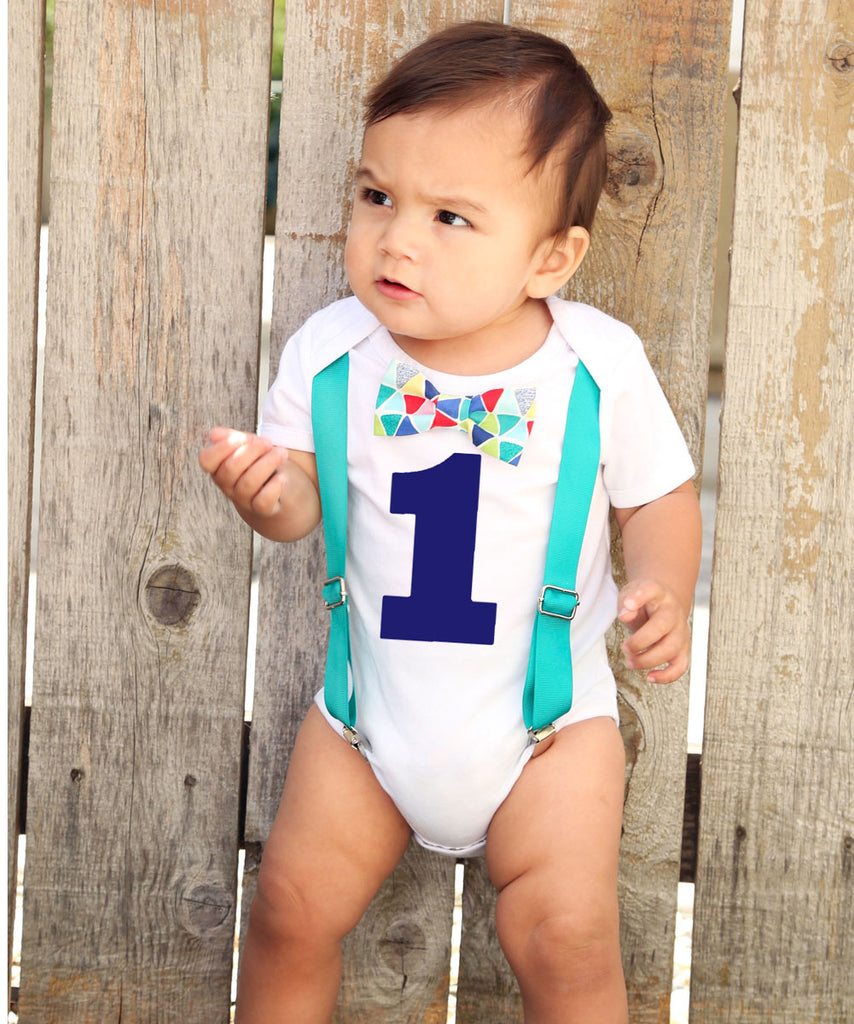 Teal Blue Red Baby Boy First Birthday Outfit - Birthday ...