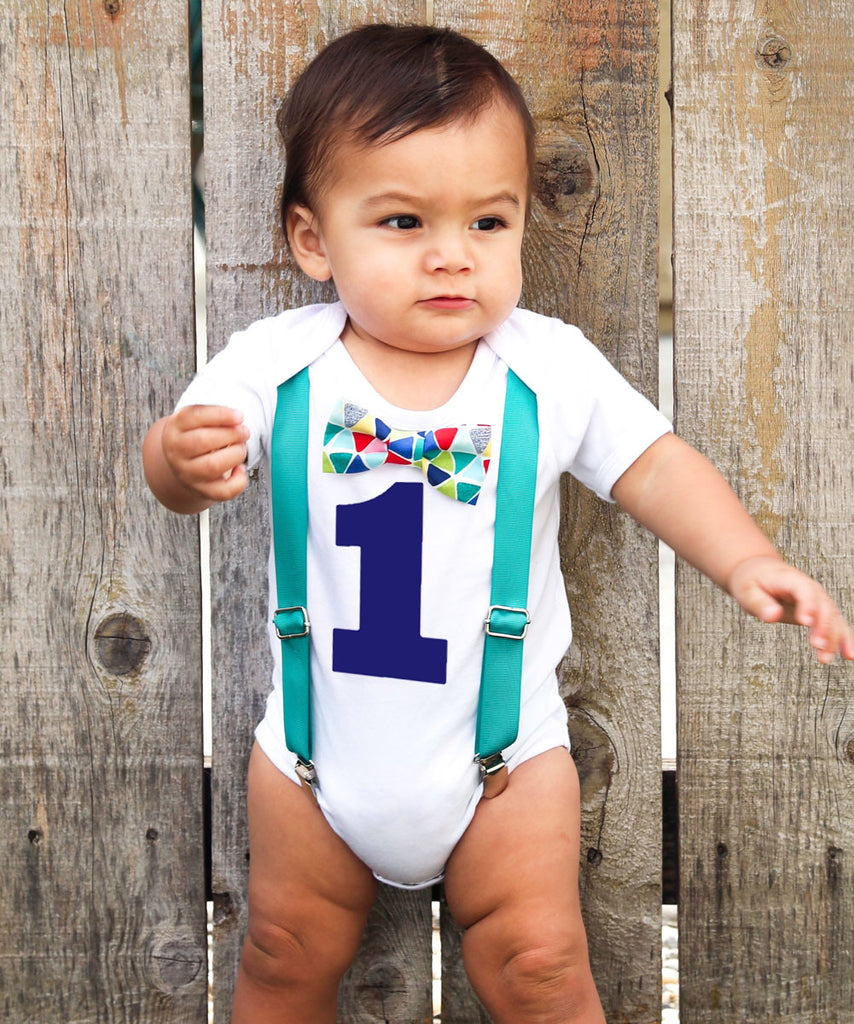 Teal Blue Red Baby Boy First Birthday Outfit