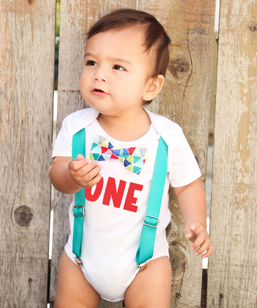 57904516 ... First Birthday Outfits Boy with One - Teal Suspenders and Colorful  Geometric Print Bow Tie ...