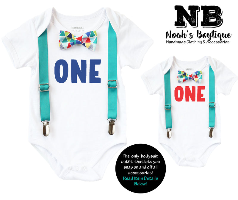 First Birthday Outfits Boy with One - Teal Suspenders and Colorful Geometric Print Bow Tie - First Birthday Shirt Boy - Cake Smash Outfit -first birthday onesie personalized