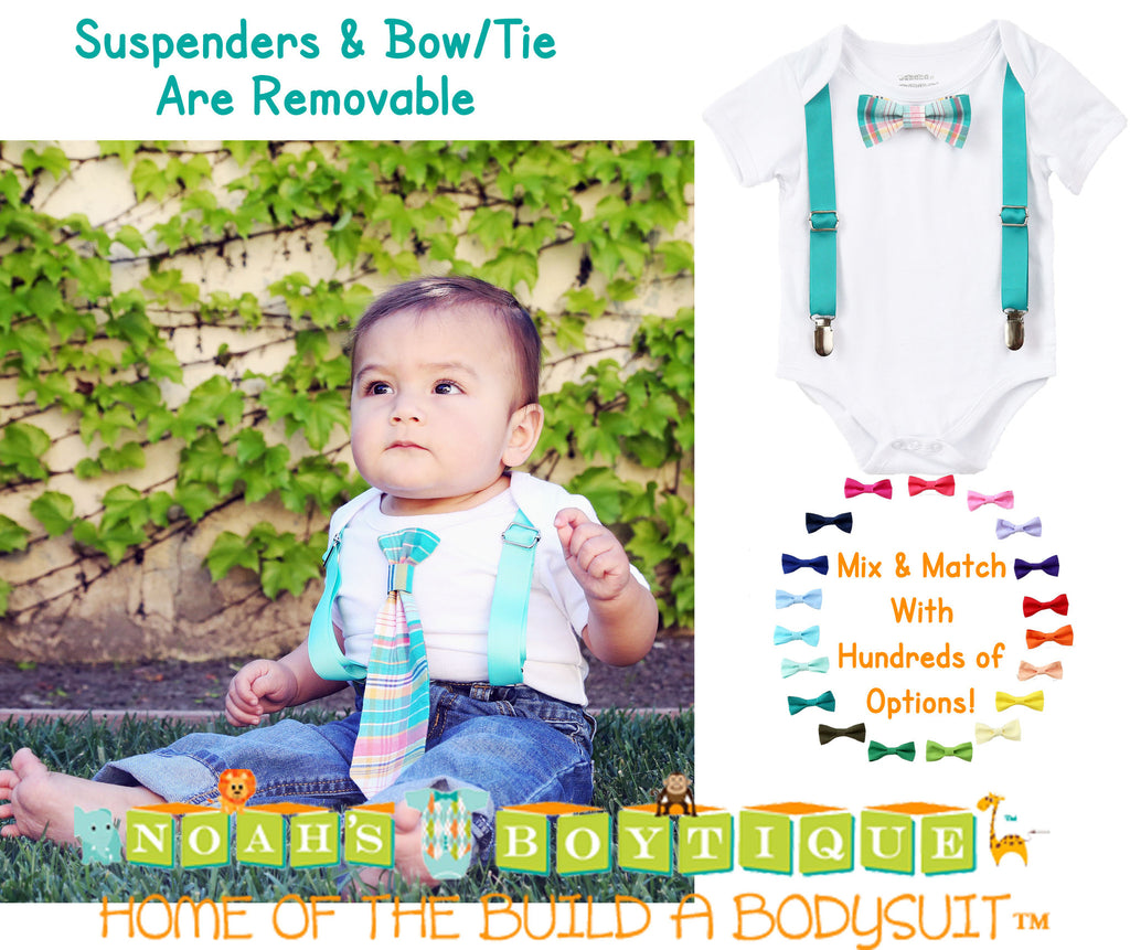 31af14940f22 ... Baby Boy Clothes With Tie and Suspenders - Toddler Boy - Hipster Shirt  - Teal Plaid ...