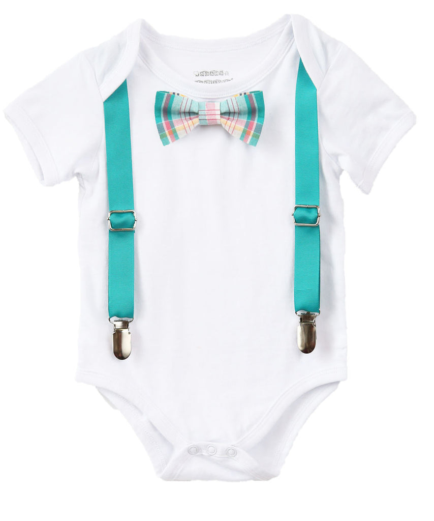 Baby Boy Clothes With Tie and Suspenders - Toddler Boy - Hipster Shirt - Teal Plaid Tie - Spring Outfit - Newborn - Infant - Wedding Outfit - Noah's Boytique - Noahs Boytique