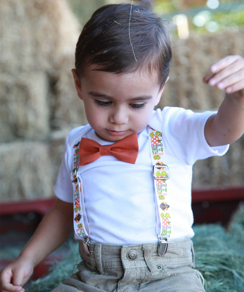 Thanksgiving Outfit for Baby Boy Gobble Suspenders with Bow Tie