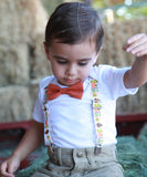 Gobble Thanksgiving Fall Turkey Noah's Boytique Bodysuit Suspenders - Snap On - Suspender Outfit - Baby Suspenders - Newborn - Interchangeable - Outfit