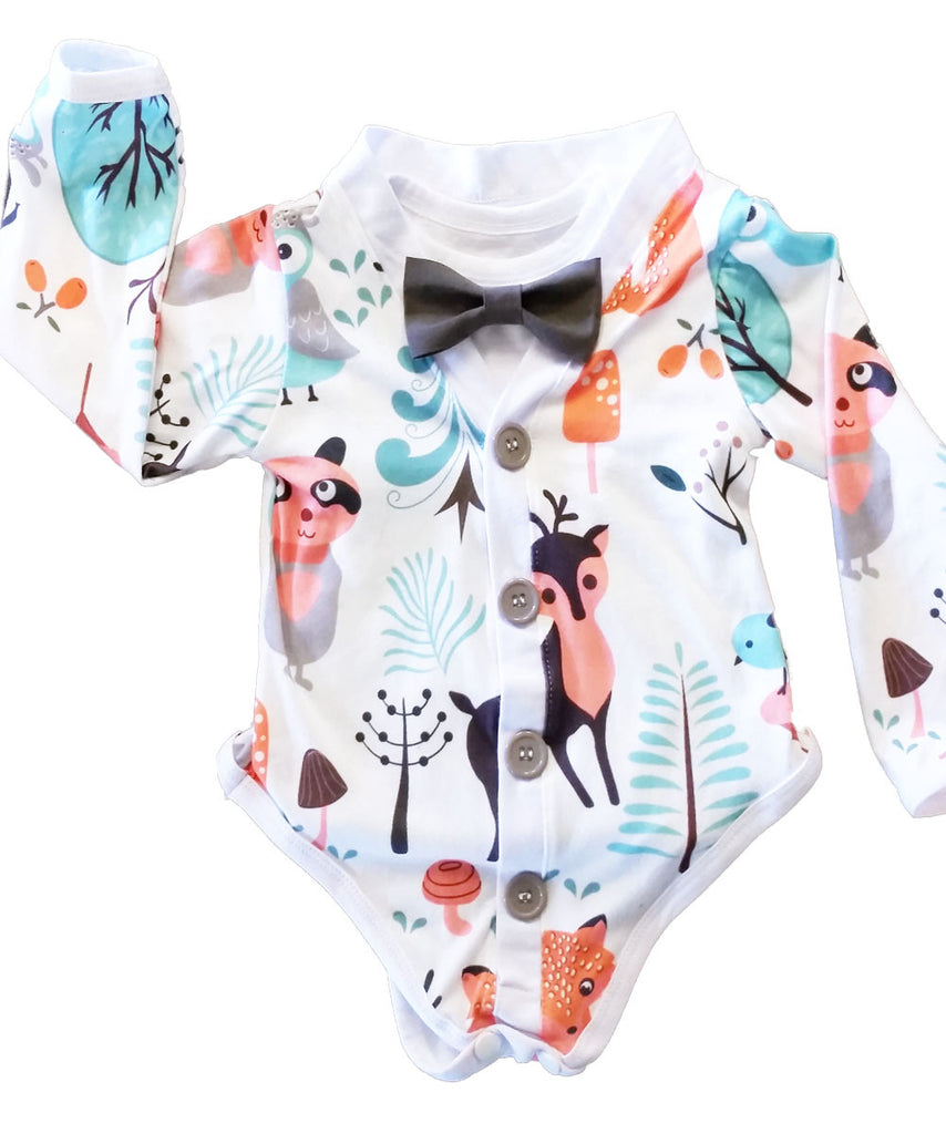 Woodland First Birthday Outfit Boy - Unisex Cardigan Outfit with Bow Tie - Woodland Baby Shower Gift - Forest - Fox - Deer - Raccoon - Owl - Cardigan Onesie - Woodland Baby Shower