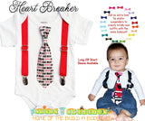 Valentines Outfit Baby Boy - Valentine's Day Newborn - Heart Breaker - Heart Tie - Toddler Boy - Kissing Booth Outfit - Suspenders - Infant