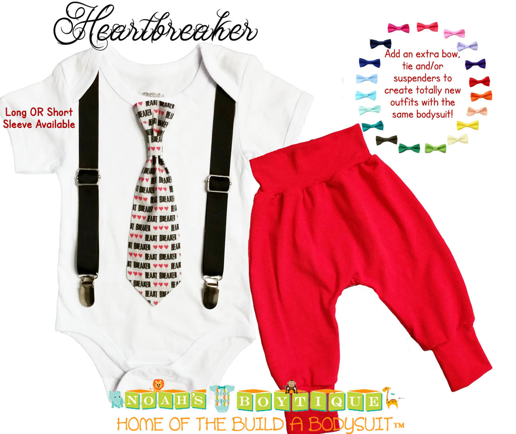 Heartbreaker Valentines Outfit Baby Boy Tie Suspenders And Red Pants