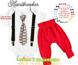 Heartbreaker Baby Boy Valentines Outfit with Pants - Red Baby Pants - Tie and Suspenders - Boys Valentines Day - Valentines Shirt for Infant