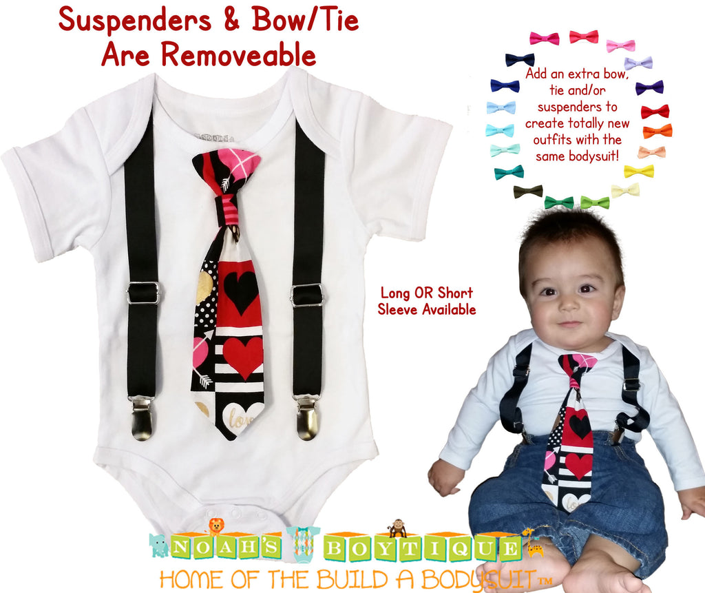 Baby Boy Valentine's Day Outfit - Valentines Day - Toddler Tie - Heart - Stripes - Valentines Shirt - Newborn - First Valentines Day
