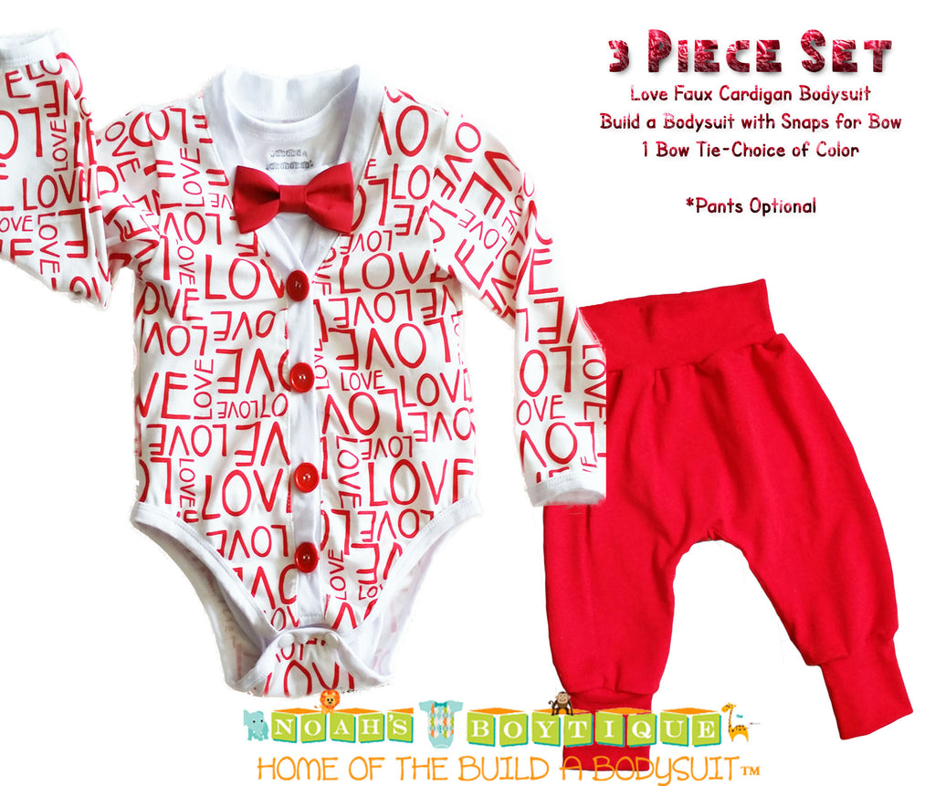 Baby Boy Valentines Love Cardigan Outfit with Red Bow Tie - Cardigan Bodysuit - Cute Valentines Outfits for Boys - First Valentines Day - Cardigan Onesie - Valentines Onesie Baby Boy