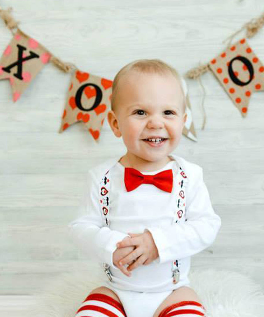 Valentines Day Outfit Baby Boy Heart and Mustache