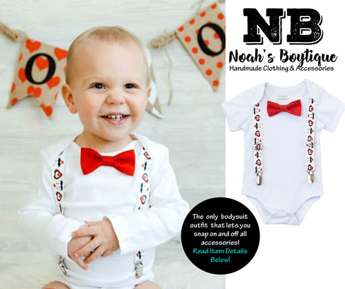 Baby Boy Valentines Day Outfit - Valentine's Day Shirt - Newborn Boy - Toddler Boy - Love Mom - Tie and Suspenders - First Valentines Day - Newborn Valentines Day - Hearts - Mustaches - Noah's Boytique - CupcakeMag, Valentines Day Onesie Baby Boy