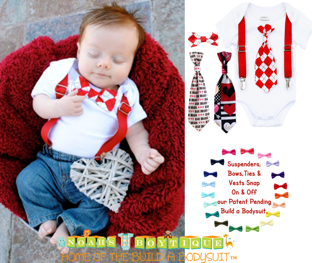 Newborn Boy Valentines Day Outfit With Tie And Suspenders