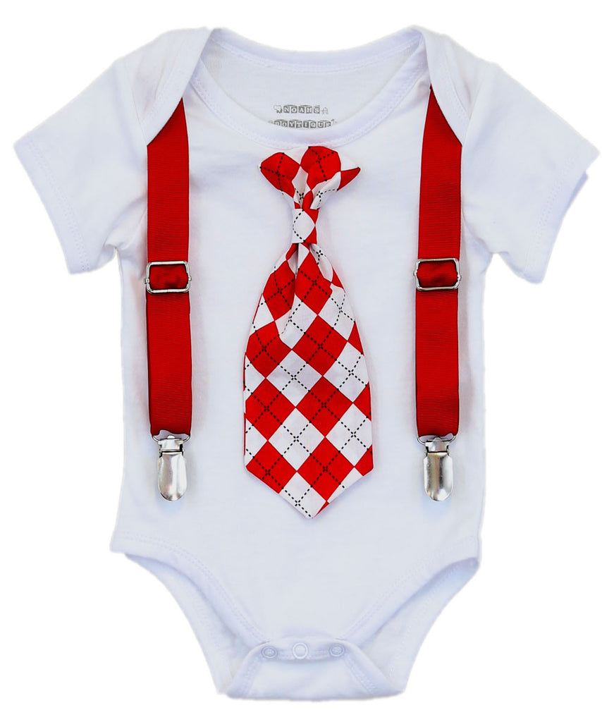 Valentines Day Shirt Baby Boy Red And Black Argyle Tie Suspenders