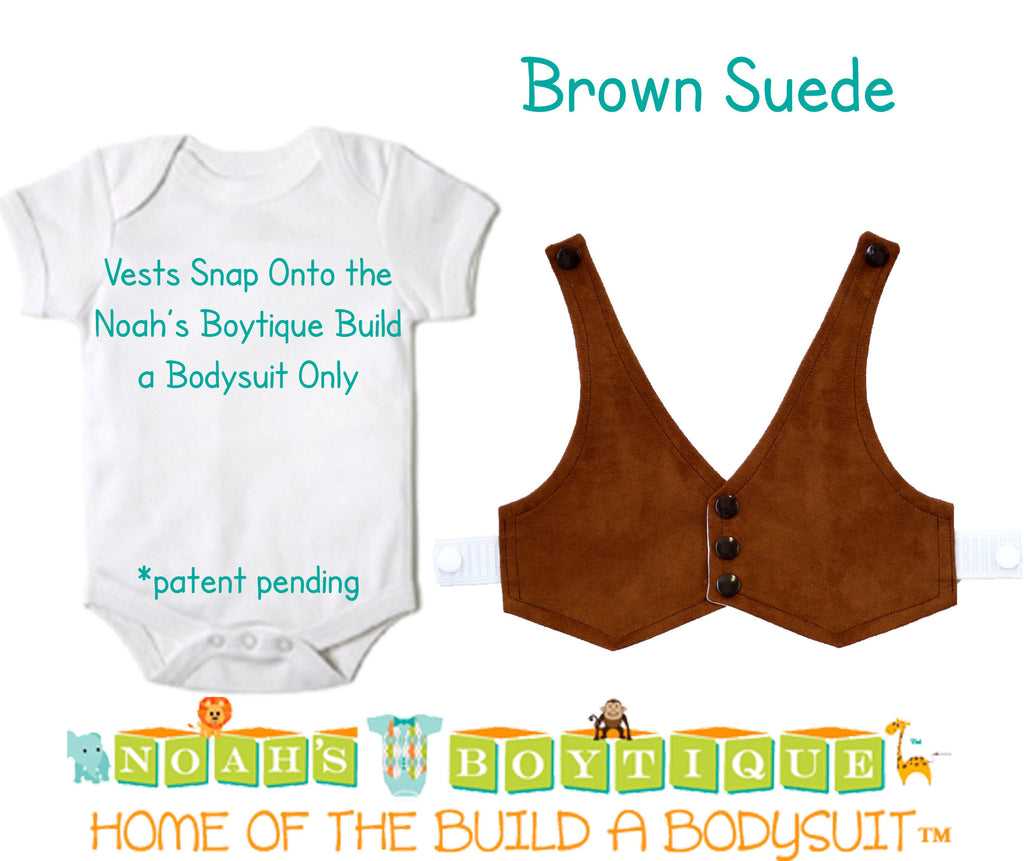 Brown Suede Baby Vest - Baby Cowboy Vest - Baby Boy Cowboy Theme - Baby Boy Birthday Vest - Baby Vest Bodysuit - Noah's Boytique  - Baby Boy First Birthday Outfit