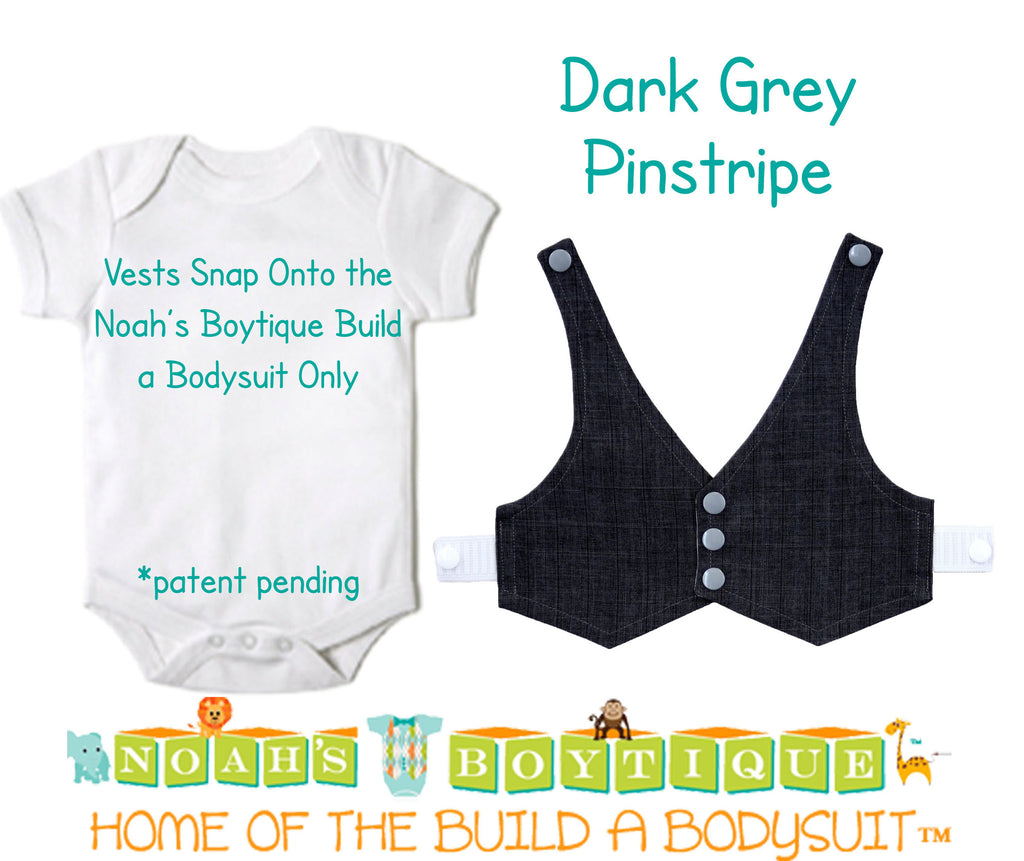Charcoal Pinstripe Baby Vest - Baby Tuxedo Vest - Baby Boy Wedding Vest - Baby Boy Birthday Vest - Baby Vest Bodysuit - Noah's Boytique  - Baby Boy First Birthday Outfit