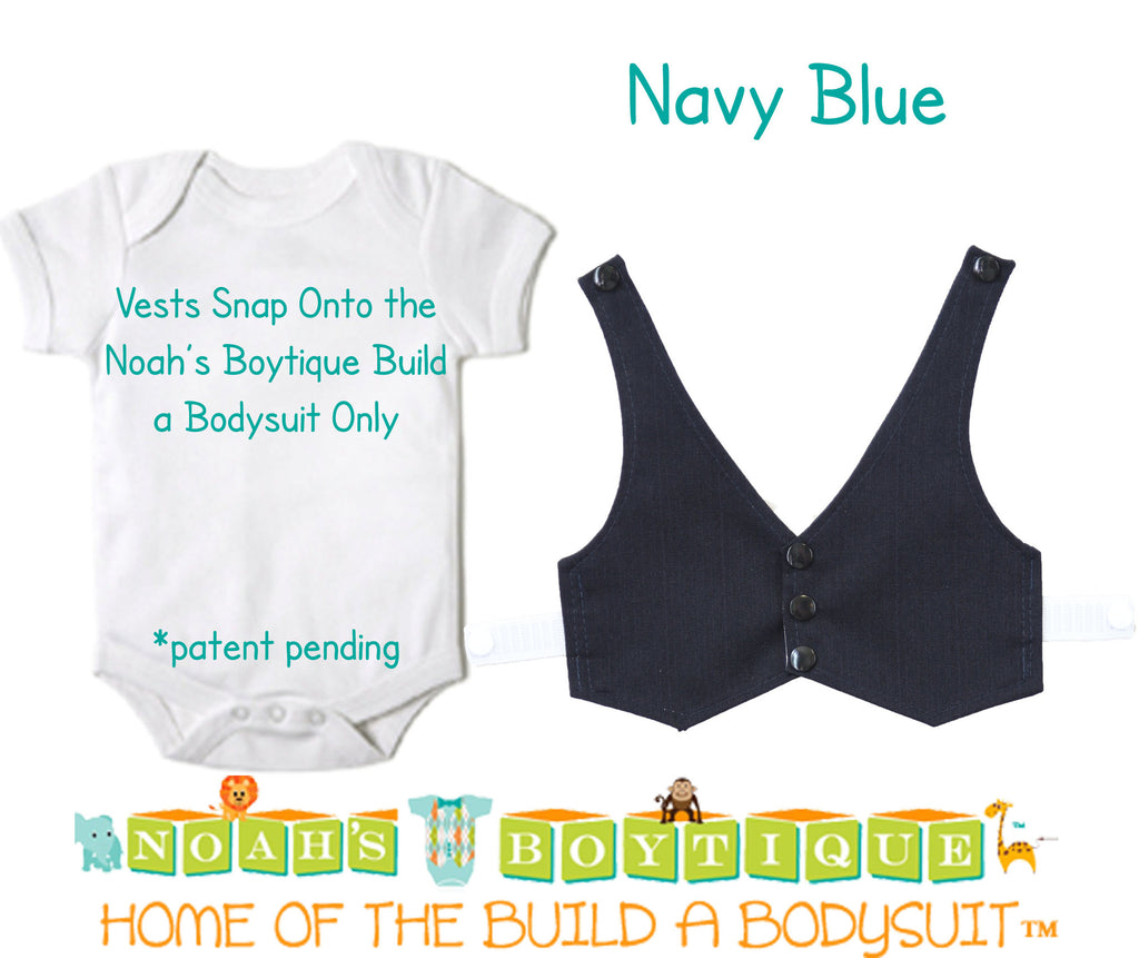 Navy Blue Baby Vest - Baby Tuxedo Vest - Baby Boy Wedding Vest - Baby Boy Birthday Vest - Baby Vest Bodysuit