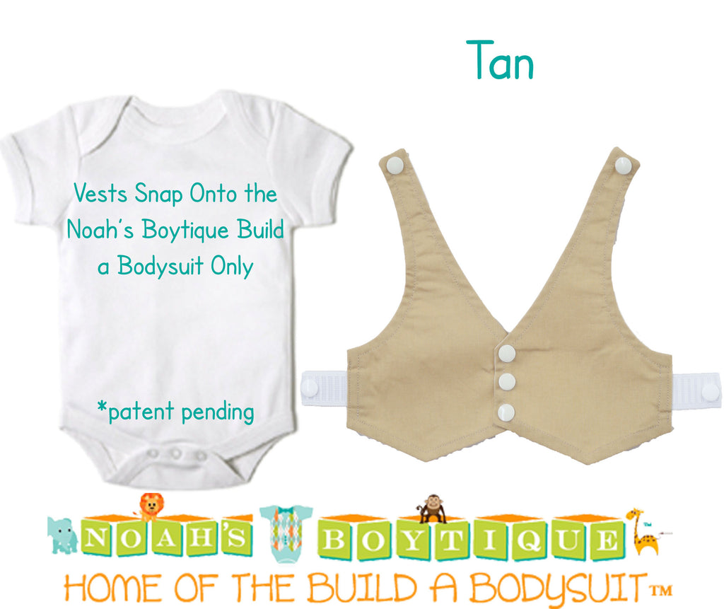 Tan Baby Vest - Baby Tuxedo Vest - Baby Boy Wedding Vest - Baby Boy Birthday Vest - Baby Vest Bodysuit