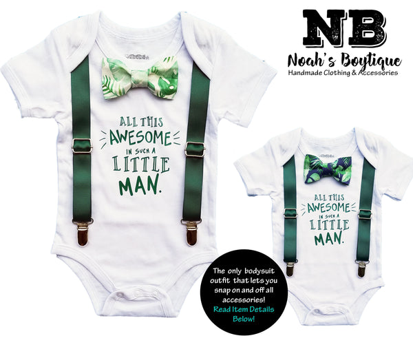 Baby Boy Summer Clothes Palm Tropical Bow Tie and Suspenders