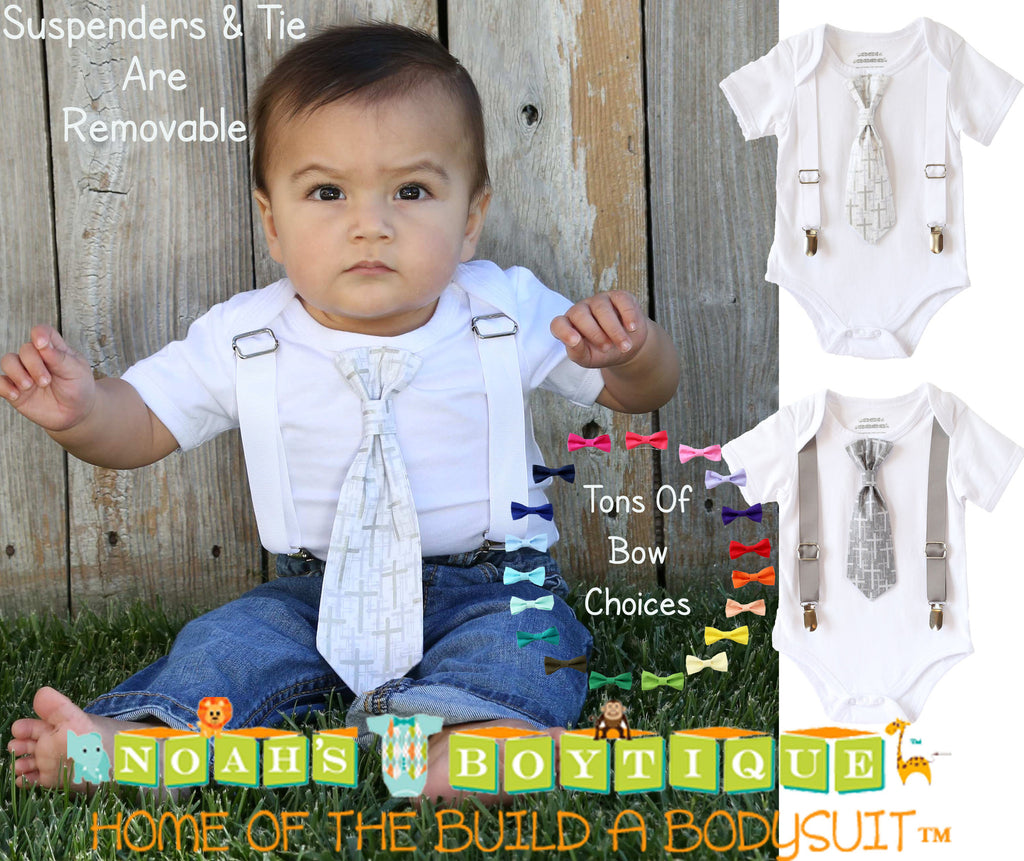 baptism outfits for baby toddler boys cross tie with suspenders