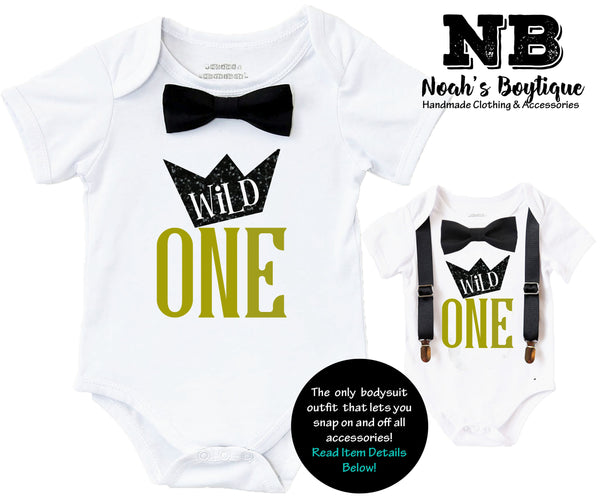 wild one first birthday shirt outfit onesie boy black and gold cake smash wild things ideas crown