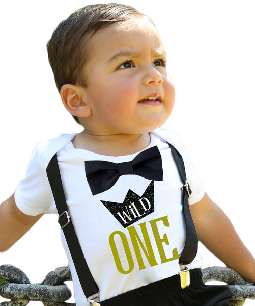 Wild One First Birthday Shirt Gold And Black Suspenders Bow Tie Noahs Boytique