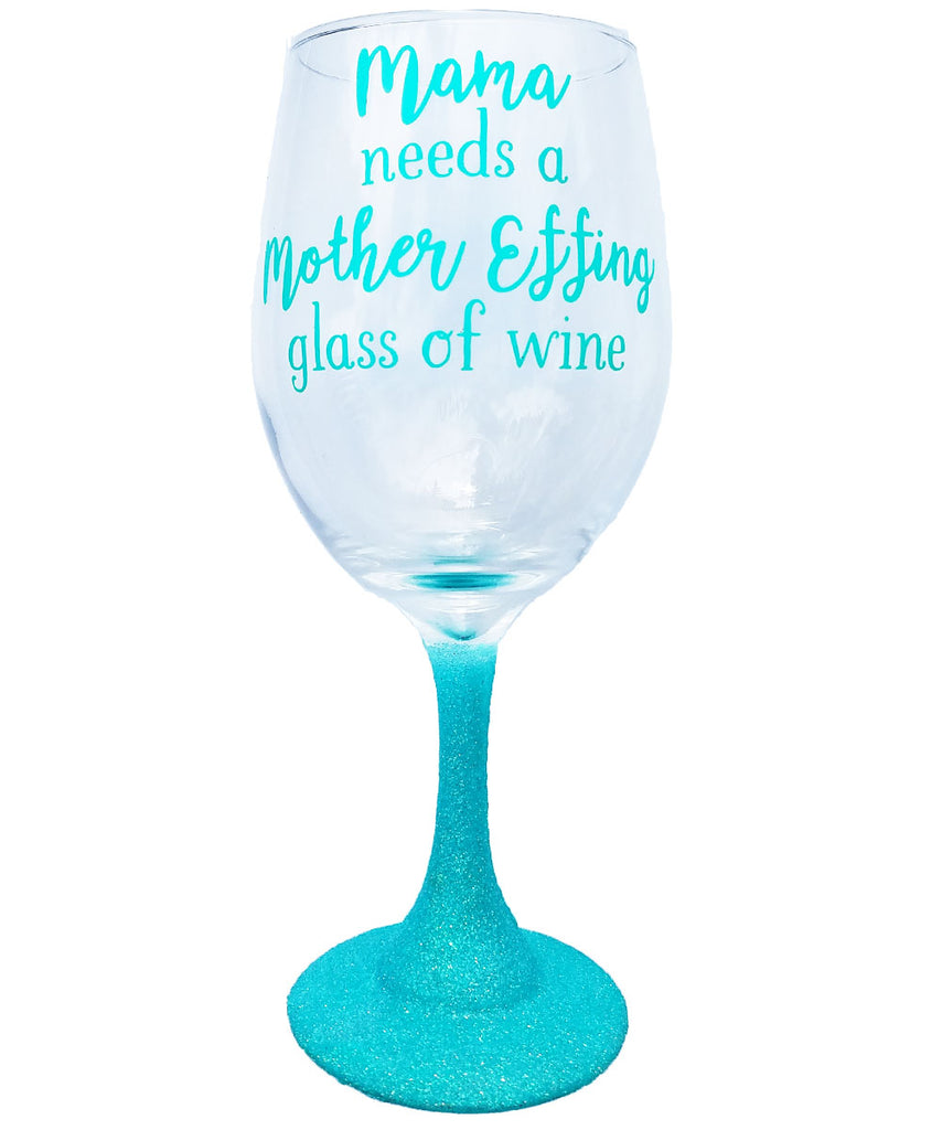 Funny Mom Glass Gift With Saying Quote And Glitter Noahs Boytique