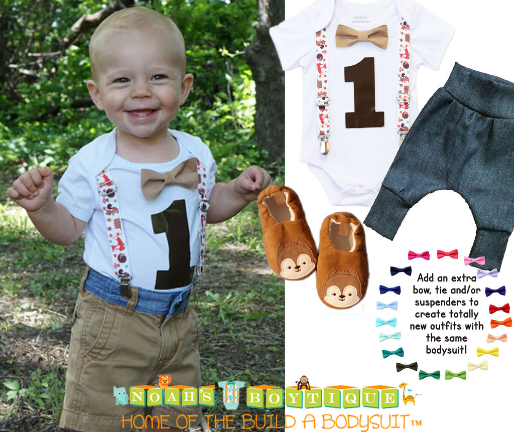 Woodland First Birthdady Shirt - Fox Birthday Outfit - Forest Animals - First Birthday - 1st - Suspenders - Bow - Animals - Baby Shower - Woodland Theme