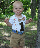 Woodland First Birthdady Shirt - First Birthday Onesie Boy - Fox Birthday Outfit - Forest Animals - First Birthday - 1st - Suspenders - Bow - Animals - Baby Shower - Woodland Theme