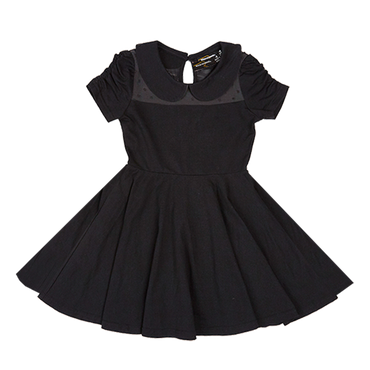 GATHERED SLEEVE WAISTED DRESS BLACK