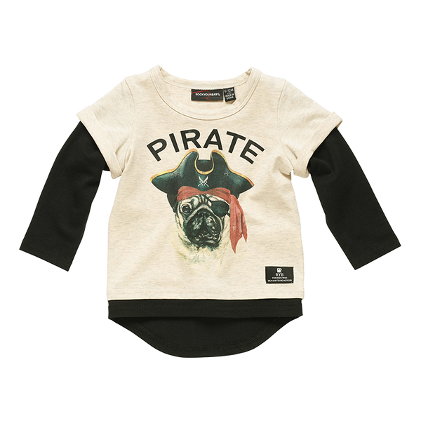 PIRATE PUG BABY LS T-SHIRT
