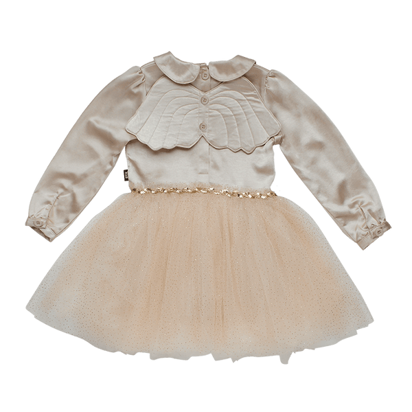 TAUPE PETER PAN ANGEL WING DRESS