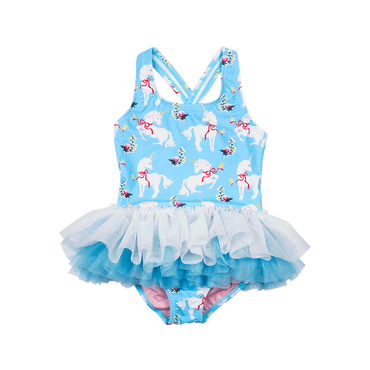 WHITE UNICORNS TULLE BABY ONE PIECE