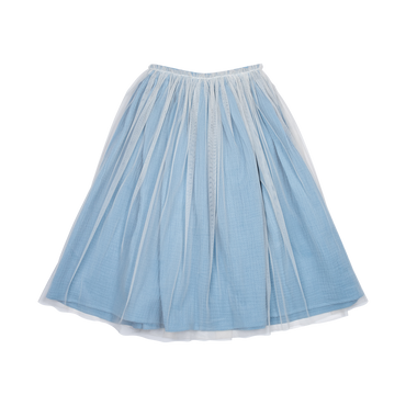 BLUE TULLE OVERLAY SKIRT