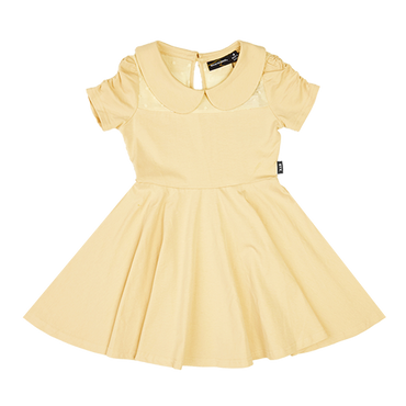 GATHERED SLEEVE WAISTED DRESS LEMON