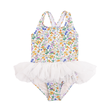 SPRING FLORALS TULLE ONE-PIECE SWIMSUIT