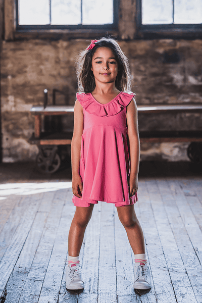PINK RUFFLE SINGLET WAISTED DRESS