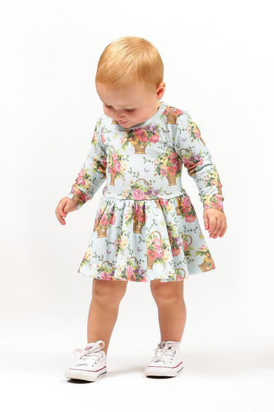 BASKET OF FLOWERS BABY WAISTED DRESS