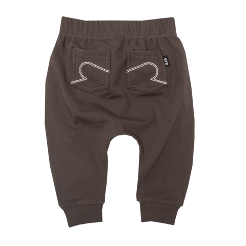 CHARCOAL BABY DROP CROTCH PANTS