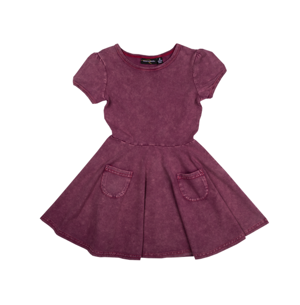 SIOUXSIE ACID WASH DRESS - PLUM
