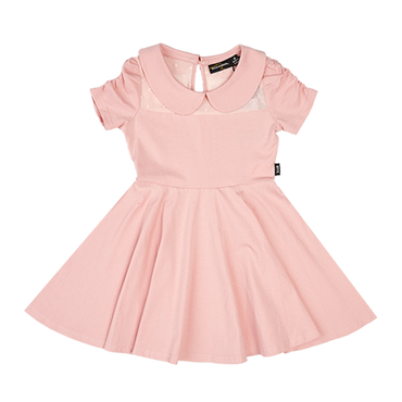 GATHERED SLEEVE WAISTED DRESS PINK