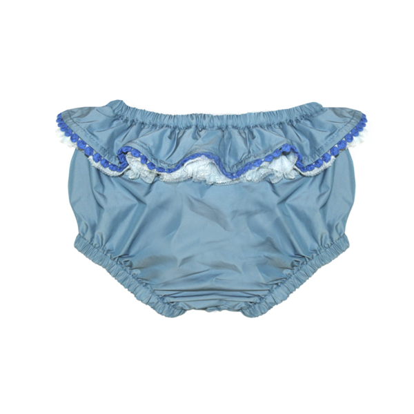 BLUE DUPION PUFF FRILL PANTS