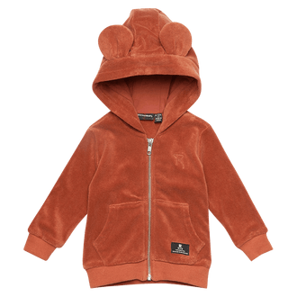 RUST TERRY TOWELLING BABY HOODED JACKET
