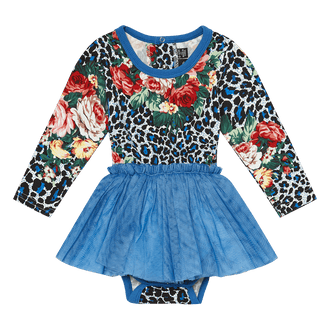 BLUE LEOPARD FLORAL BABY CIRCUS DRESS