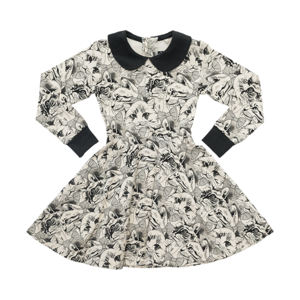 KITTENS & BOWS WAISTED DRESS