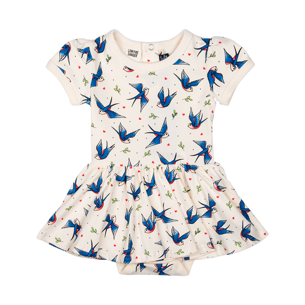 BLUE BIRDS WAISTED DRESS